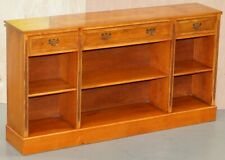 STUNNING BURR YEW WOOD LIBRARY SIDEBOARD WITH THREE LONG DRAWERS & BOOKCASE