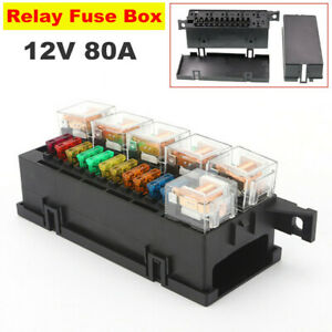 12V 80A Car Relay&Fuse Box Holder with 11x Blade Fuse and 6x Relay Truck Tractor