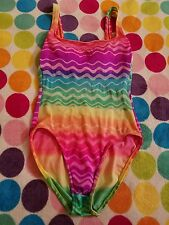 Vintage Rainbow Wildfox style Kathy Ireland Classic One Piece Swimsuit Size 10