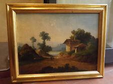 quadro antico dipinto olio su tela,paesaggio dell'800 francese con cornice