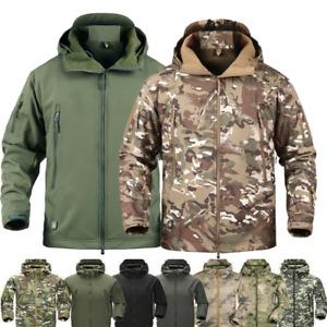Men Waterproof Windproof Work Jacket Hooded Tactical Hiking Combat Coat Casual