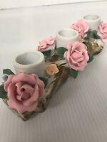 "Porcelain Roses Floral Taper Candle Holder Log Flowers 8"" Long Mid-century"