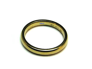9ct Yellow Gold D Section Court Wedding Band Ring 3mm UK Size N 3.2g Hallmarked