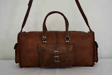 """Handcrafted 23"""" Real Brown Leather Duffle / Hold-All Bag Weekend Travel Luggage"""