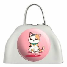 Kawaii Cute Cat Spilled Glass of Water White Metal Cowbell Cow Bell Instrument