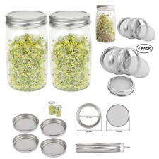 4X Organic Seeds Sprouting Jar Lid Kit for Wide Mouth Mason Jars Stainless Steel