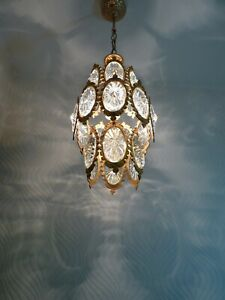 Vintage Brass and Crystal Nice Chandelier