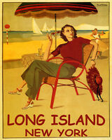POSTER LONG ISLAND NEW YORK BEACH FASHION SAILING DANCING VINTAGE REPRO FREE S/H