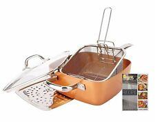 """5-Piece Non-Stick Copper Infused Ceramic Titanium Chef 9.5"""" Square Pan Set"""