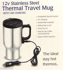 Coffee Mug Stainless Steel Thermal Travel Mug with 12v volt Car Charging Charger