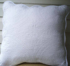 Crispy White Cushion Pillow Cover French Marcella Style Scalloped Edge 45x45cm