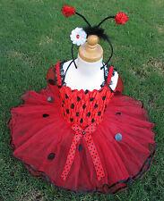 4pc LadyBug Set Wings Tutu Headband Top Girls Costume Halloween Dance 2T-3T-4T
