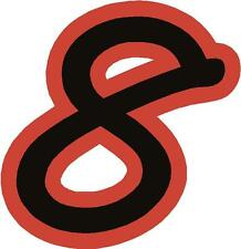 """x1 3"""" Race Number vinyl stickers (more in ebay shop) Style 1 Number 8 Black/Red"""