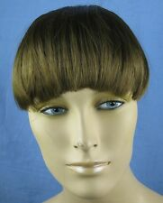 natural brown clip in on fake fringe bang hair extension hair piece fancy dress