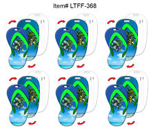 Luggage Travel Tag Flip Flop Shape Island Paradise Lenticular SET OF6 #LTFF-368#