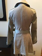 NEW T TAHARI LADY TAUPE TRENCH COAT SIZE S  POCKETS