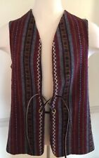 Woolrich Wool Vest Multi Patterned Large Lg L Leather Closure GUC - See Details