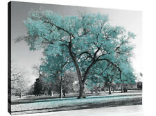 Large Duck Egg Blue Leaves Black White Tree Nature Canvas Wall Art Picture Print