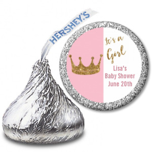 Gold Glitter Crown Pink - Personalized Hershey Kiss Baby Shower Stickers labels