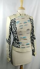 Womens Anthropologie TRACY REESE Leather Animal Print Military Moto Jacket sz 2
