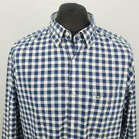 Lacoste Mens Vintage Shirt 45 2XL Long Sleeve Blue Regular Fit Check Gingham