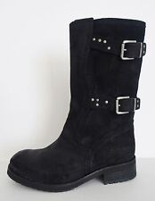 NWT WOMEN DIESEL SIOUXY BLACK BUCKLE LEATHER SUEDE OILED MOTORCYCLE BOOTS 7.5