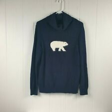Talbot's Woman's Petite Size L Navy Wool Blend Turtle Neck Sweater Polar Bear