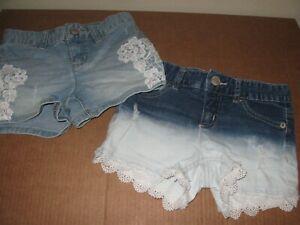 "Justice lot 2 tie dye jean shorts 10 slim 10s  22"" W blue denim stretch lace"