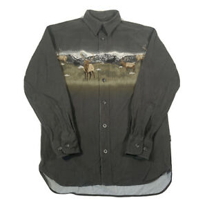 Vintage Grey Long Sleeve Heavy Cotton Flannel Deer Pattern Shirt - Mens Small