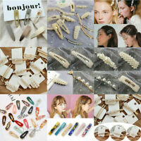 Cute Girls Crystal Pearl Hair Clips Bobby Pin Barrette Hairpin Hair Accessories