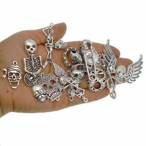 20PC Vintage Silver Alloy Assorted Halloween Skull Charms Pendant Jewelry Making