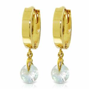 1.3 Carat 14K Solid Gold Hoop Earrings Natural Aquamarine