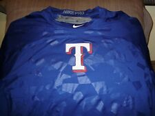 NIKE Pro Hypercool Texas Rangers MLB Baseball Blue Fitted S/S Jersey Mens Medium