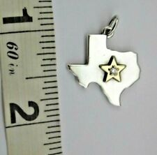 James Avery Star of Texas Diamond Pendant RETIRED Charm Silver Gold