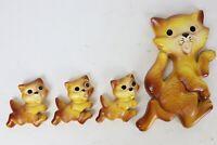 Vintage 1970 Miller Studio Chalk Ware Yellow Cat Kittens Family Wall Decor USA