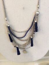 Lucky Brand Draped Multi Chain blue Tassle Necklace w/ blue beads $ 45 #Y118a