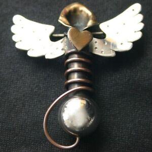 Vintage STERLING THOMAS MANN Flying Heart Vase Pin