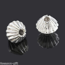 500 Gift Silver Plated Corrugated Bicone Beads 6x6mm