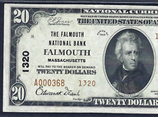 MA 1929 $20 TYPE-2  ♚♚FALMOUTH, MASSACHUSETTS♚♚ PMG ABOUT UNC 55 EPQ