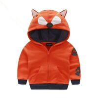 Toddler Baby Girls Hooded Jacket Zipper Coat Kids Winter Warm Fox Animal Hoodie