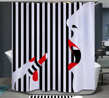 Lipstick Red Lips & Nails Fabric Shower Curtain 70x70 Black and White Striped