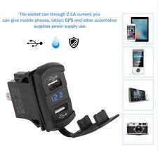 Rocker Push Switch Style Car Marine Boat Blue LED 12V Voltmeter Dual USB Charger
