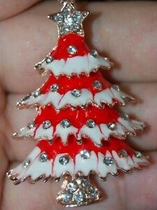 Beautiful Rhinestone RED CHRISTMAS TREE Broach Pendent Betsy Johnson Holiday