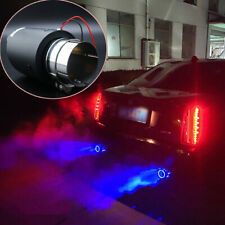Matte Carbon Fiber Exhaust Tip Blue LED Light Car Muffler End Pipe Frost Breath