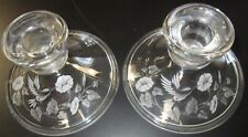 Set Of 2 Avon 24% Lead Crystal Etched Hummingbird Candle Holders