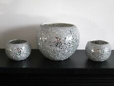 NEW SET CRACKLE SILVER MIRRORED MOSAIC VASE/PLANT POT AND 2 T.LIGHT HOLDERS SET