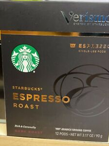 Starbucks Verismo Espresso Pods Dark Roast 6 boxes 72 pods.exp 22/may/2021