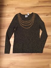 DG2 By Diane Gilman Womens Sweater Black & Gold Sparkle Studded Sz L New