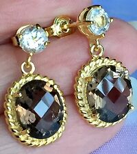Brazilian Smoky Quartz Wht Topaz   Earrings in 14k Gold ON SILVER 5.500 Ct.