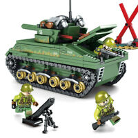 437PCS Lego City Military Sherman M4 Tank Building Blocks WW2 Weapon Toys